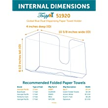"TrippNT 51920 Global Blue PETG Dual-Dispensing Paper Towel Holder, 10 7/8"" Width x 6 1/2"" Height x 4 1/4"" Depth"