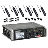 Zoom F4 Multitrack Field Recorder Bundle with 6-PACK of Movo XLR Lavalier Omnidirctional Clip-on Microphones