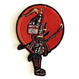 Japanese Warrior Samurai with Bloody Sword - Iron on Embroidered Patch Applique (Color: multi, Tamaño: 4