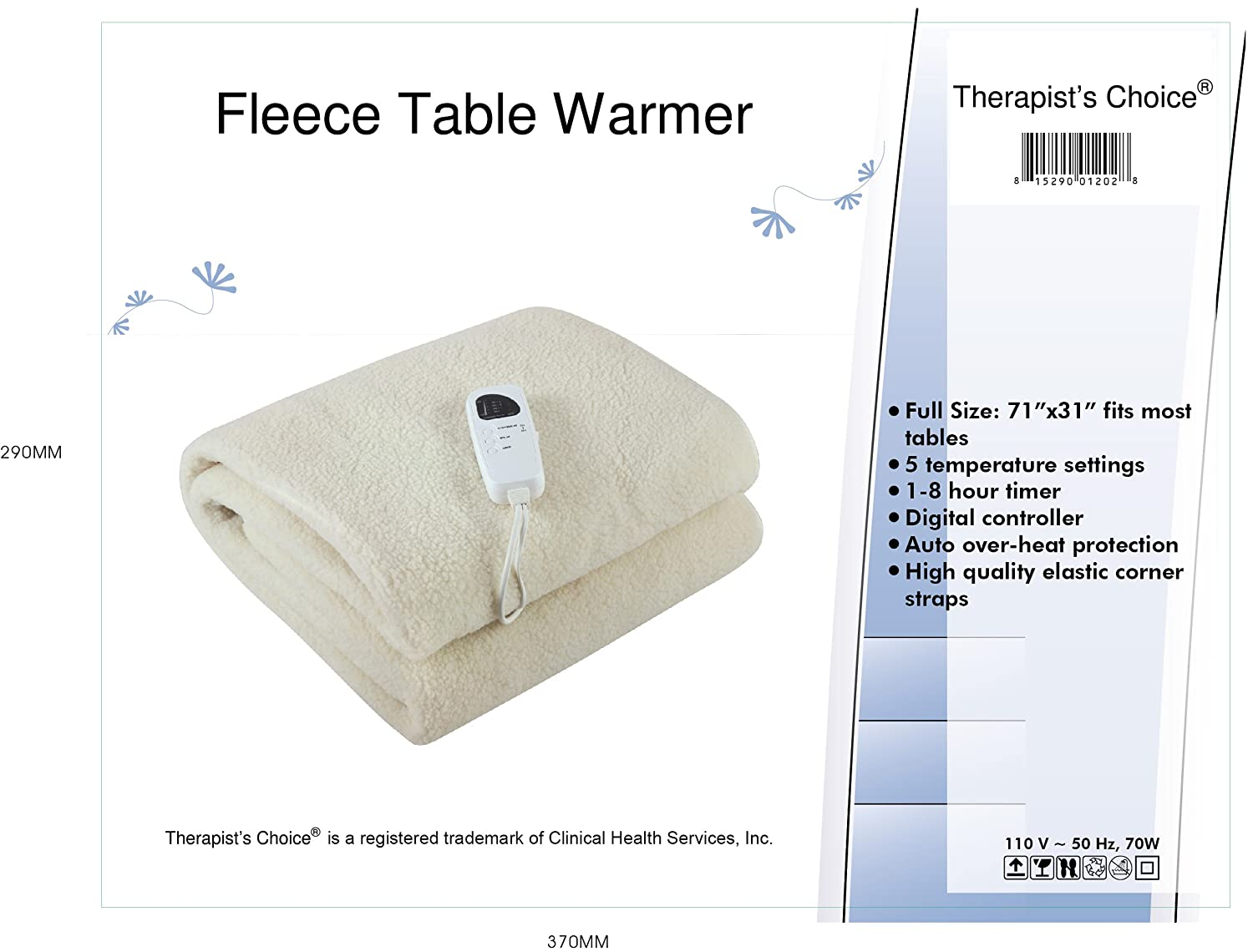 Therapists ChoiceR Deluxe Fleece Massage Table Warmer