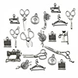 68 PCS Sewing Charms Collection - Antique Silver Scissor Pipe Yarn Clew Button Sewing Machine Pendant Jewelry Findings (Sewing HM3)