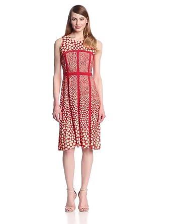 Taylor Dresses Women's Sleeveless Swing Dress, Poppy/Tan, 4