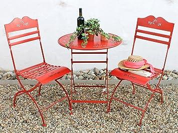 """Sitzgruppe """"Passion"""" Tisch mit 2 Stuhle Set aus Metall Rot Gartenstuhl Gartentisch"""