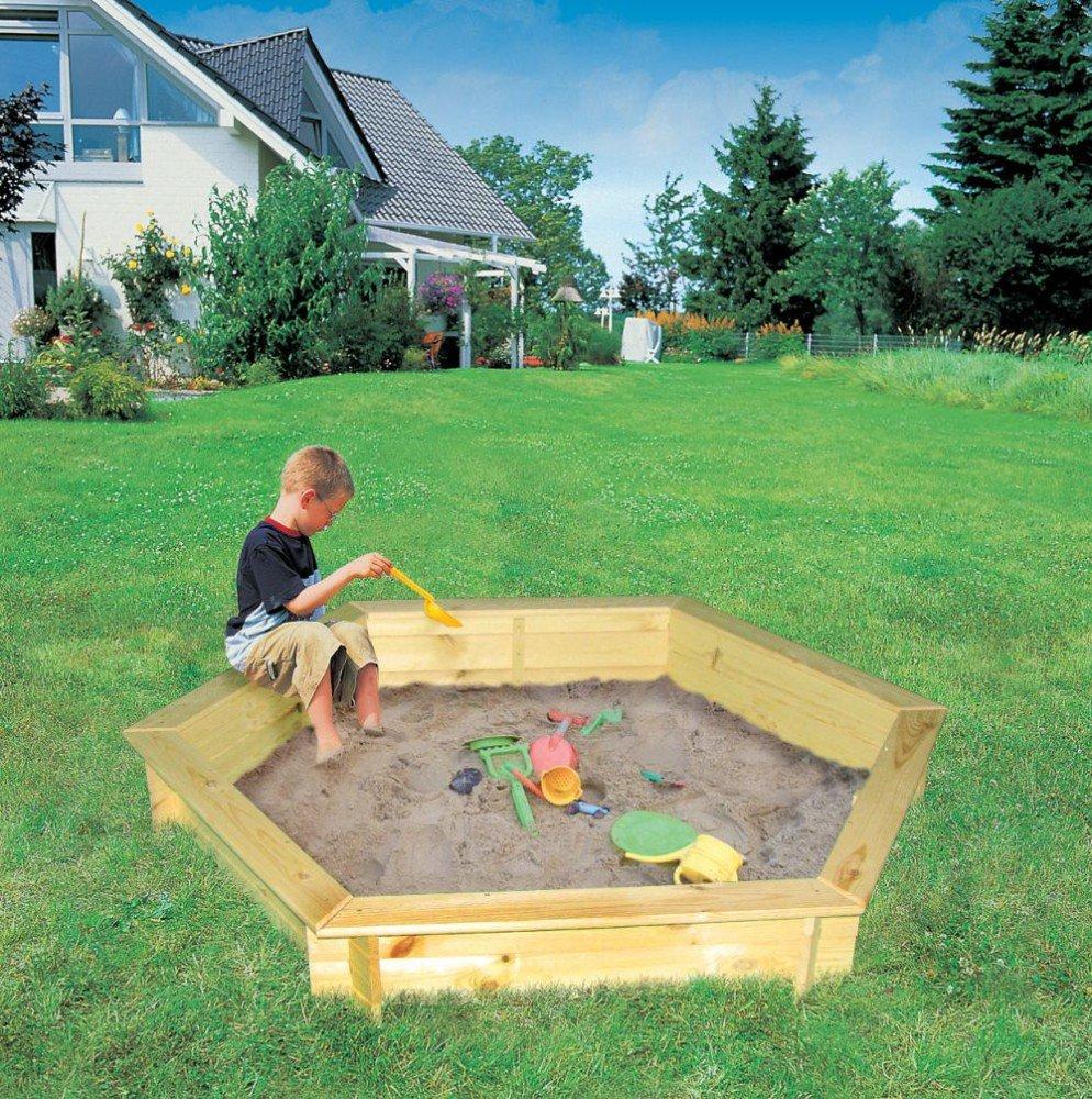 6eck Sandkasten Fynja mit Folienabdeckung Kiefernholz natur Sandkiste online bestellen