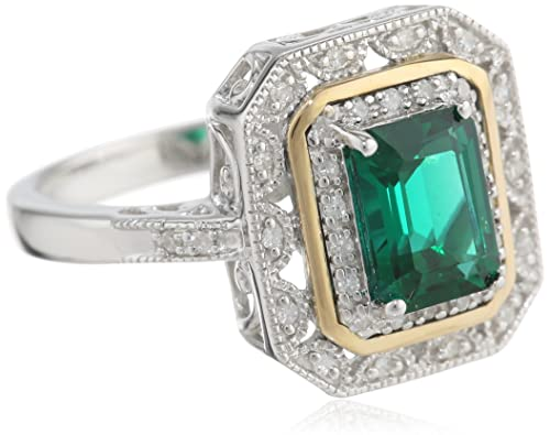 S&G Sterling Silver and 14k Yellow Gold Diamond Ring (Created-emerald)