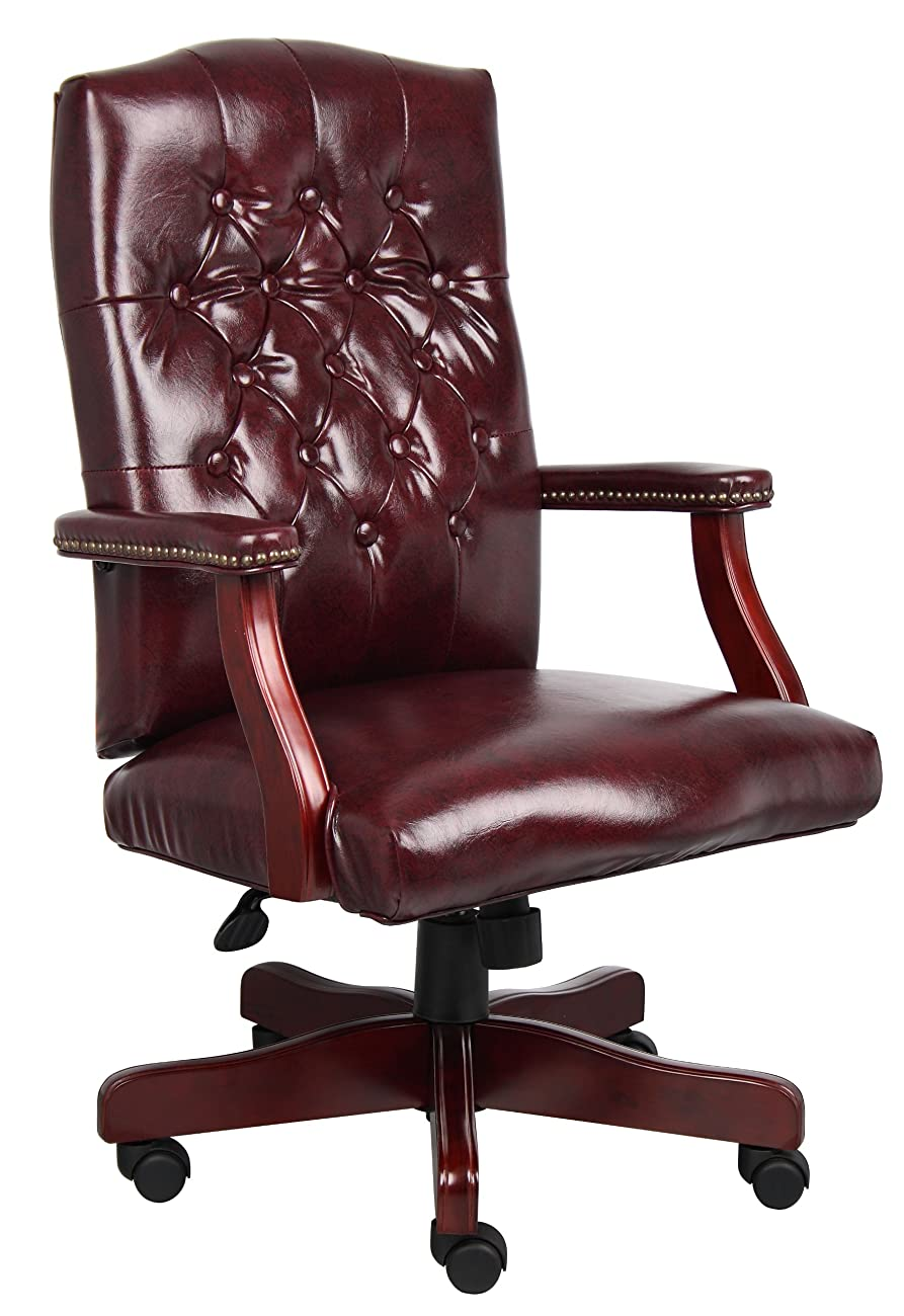 Boss Office Products B905-BY Classic Executive Caressoft Chair with Mahogany Finish in Burgundy 0