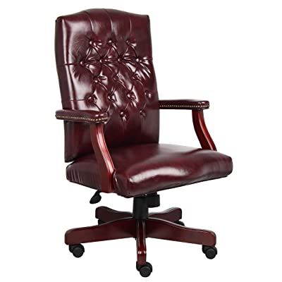 Boss Office Products B905-BY classic executive cares soft Chair with Mahogany Finish in Burgundy