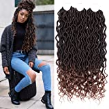 6Pcs Goddess Locs Crochet Braiding Hair wavy Faux Locs with curly end Soft Hair Extensions Deep Faux Locs Twist Braids (18
