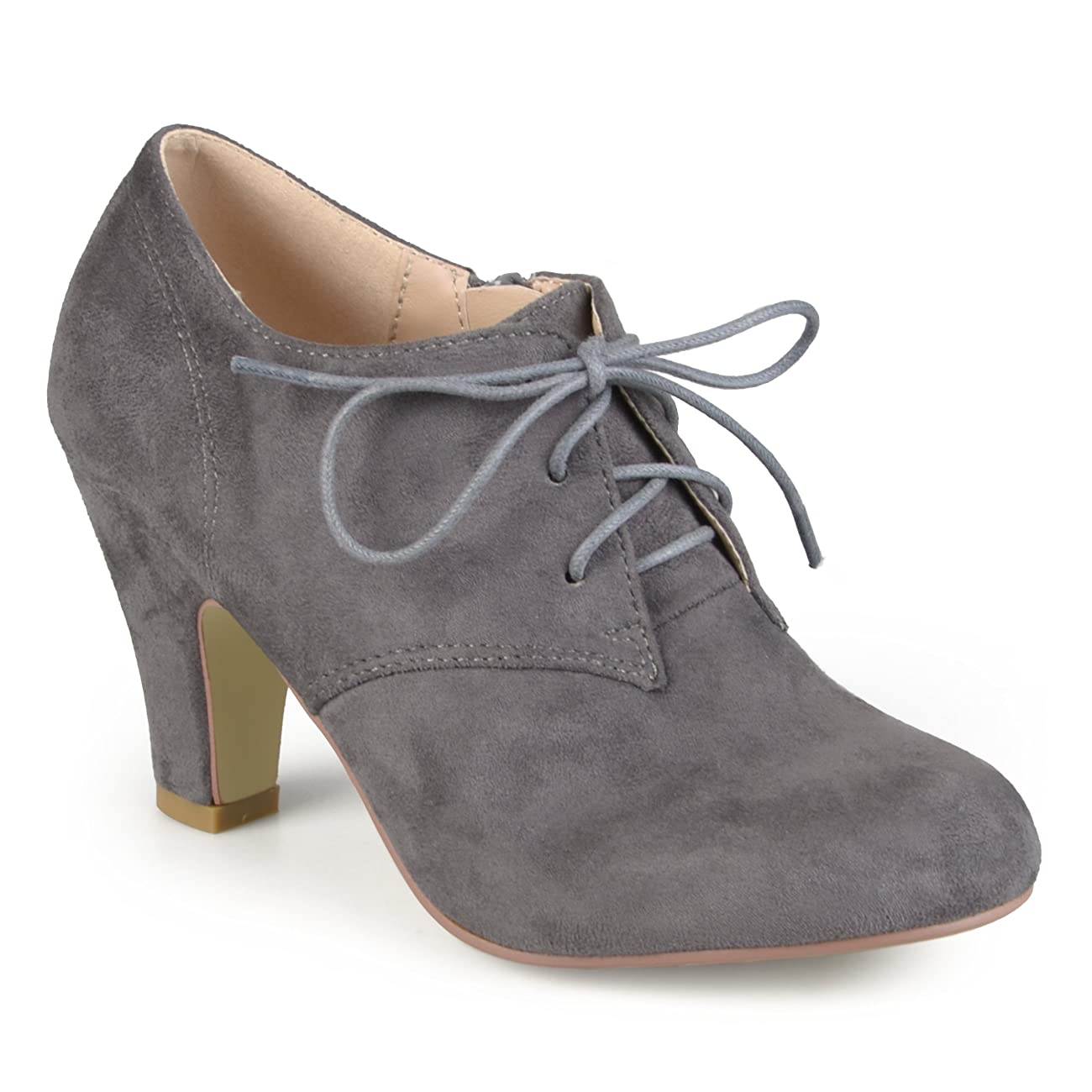 Brinley Co. Womens Vintage Round Toe High Heel Lace-up Faux Suede Booties 1