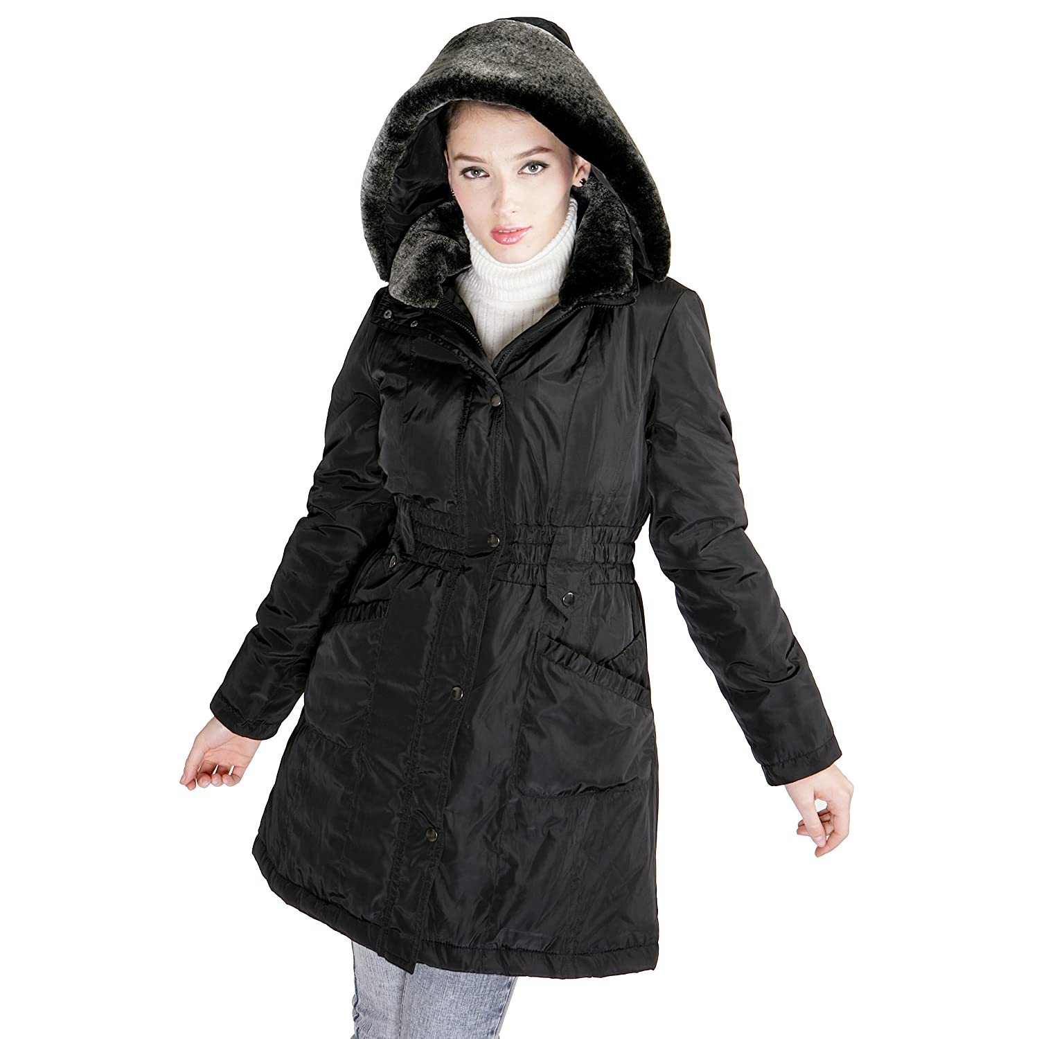 BGSD Women's Thinsualte Filled Parka Coat with Removable Hood – Black M