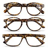 3 Pairs Unisex Reading Glasses-Comfy Stylish Spring Hinged Readers By EyeSquared (Color: Tortoise, Tamaño: 2.50X)