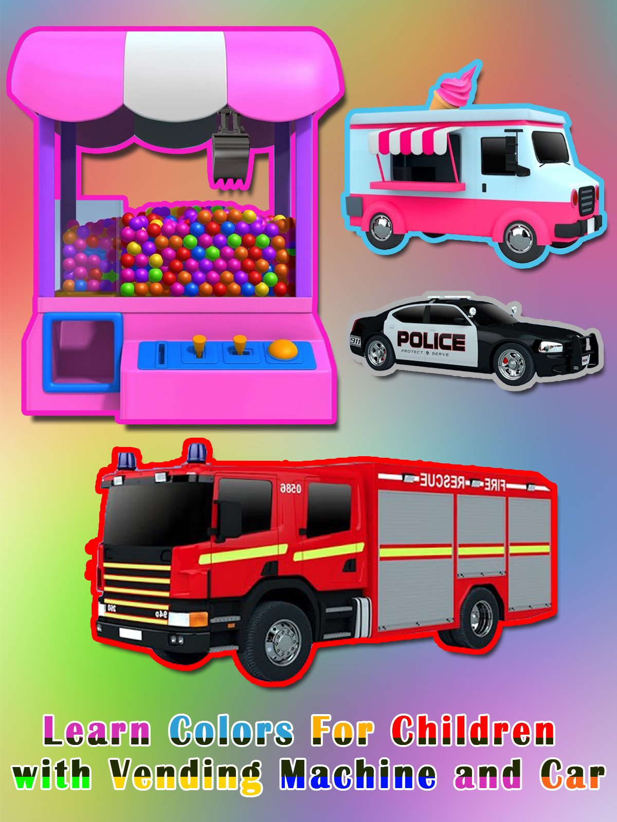 Learn Colors For Children with Vending Machine and Car