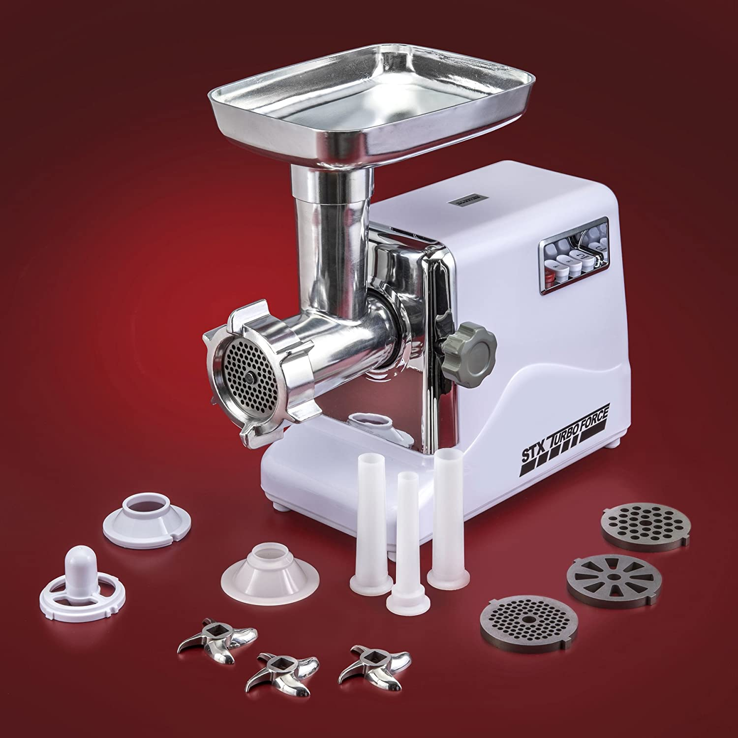 Electric meat grinder with accessories