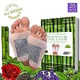 Foot Pads 20pc, Bonus EBOOK | Lavender, Rose, Mint, Green Tea | Upgraded 2in1 | All Natural 100% Organic Aroma Foot Pads