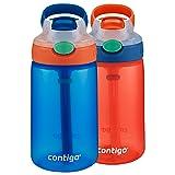 Contigo Kids Gizmo Flip Water Bottles, 14oz, French Blue/Coral, 2-Pack (Color: French Blue & Coral 2-Pack, Tamaño: 2-Pack)