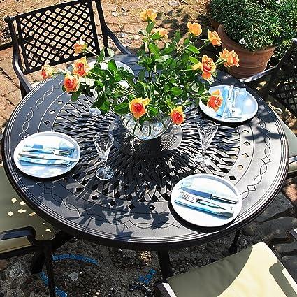 Amy 120cm Rundes Gartenmöbelset - 1 AMY Tisch + 4 MARIA Stuhle