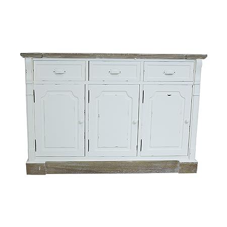 Sideboard / Kommode - 3 Schubladen - Shabby Chic - Vintage-Design - Weiß