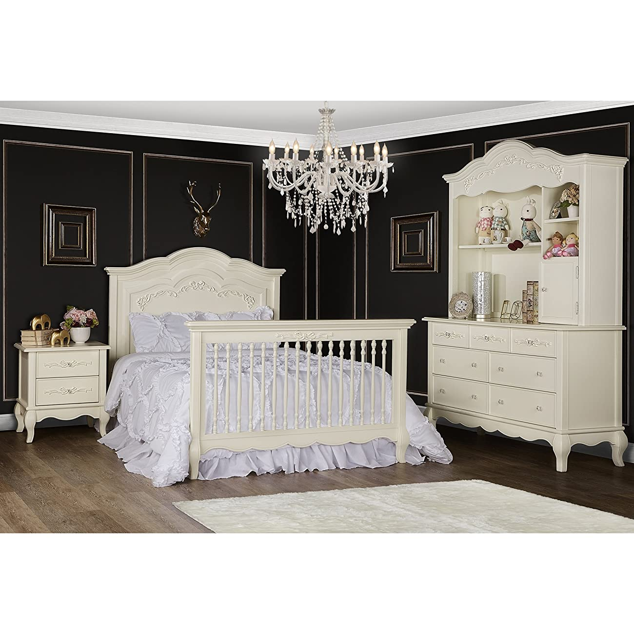 Evolur Aurora 5-in-1 Convertible Crib, Ivory Lace 5