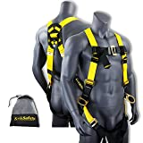 KwikSafety (Charlotte, NC) THUNDER Safety Harness | ANSI OSHA Full Body Personal Fall Protection 1 Dorsal Ring 2 Side D-Rings & Pass Through Buckle Straps Construction Industrial Tower Roofing Tool (Color: Pass-Through Buckle, Tamaño: 1 Pack)