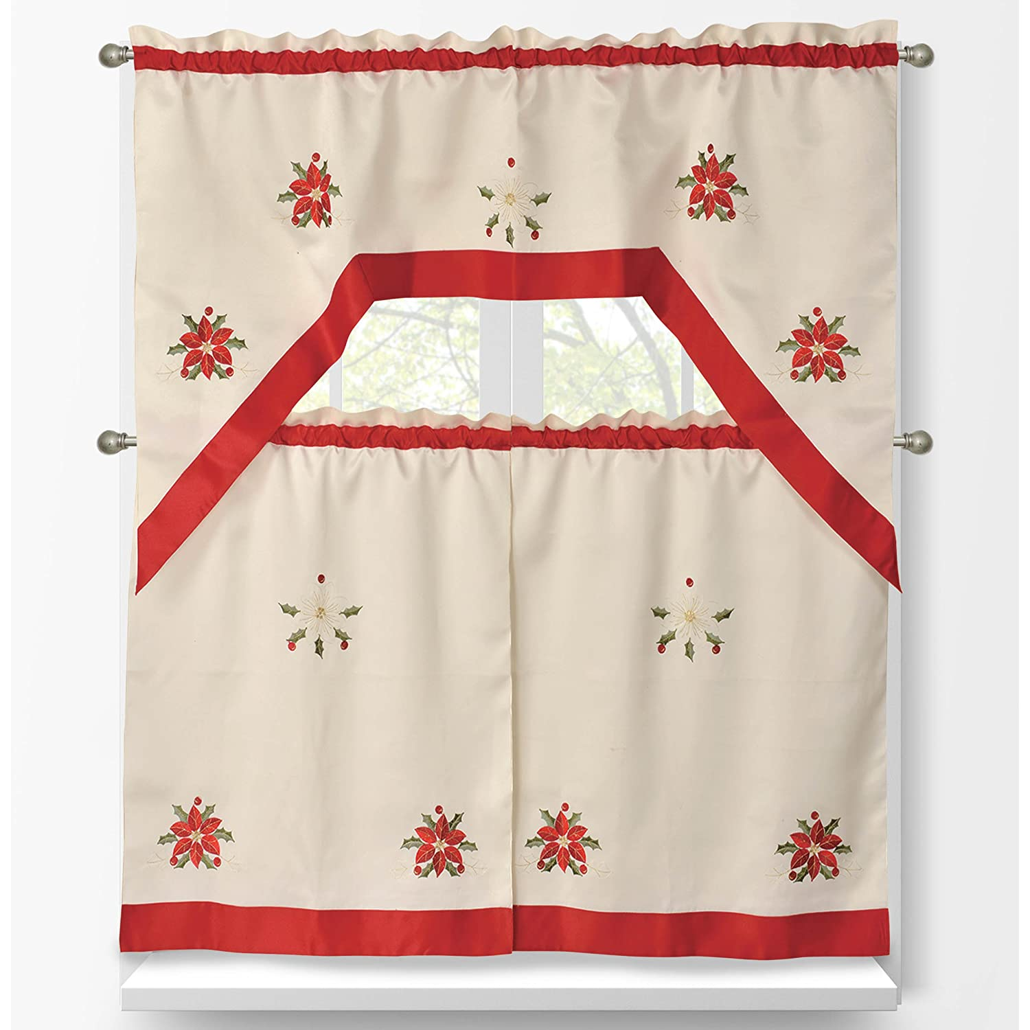 Poinsettia Window Curtains
