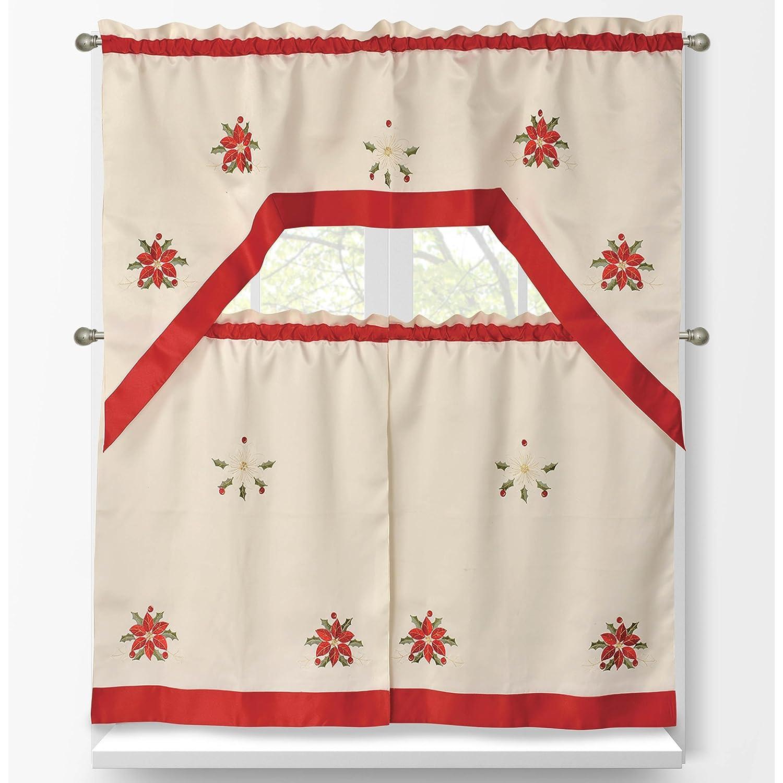 Kitchen Christmas Curtains Amazon Com: Poinsettia Window Curtains