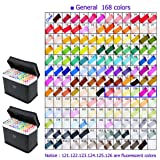 168 Color TOUCHNEW Art Sketch Twin Marker Pens Broad Fine Point Alcohol Graphic Highlighter Underlining Pens, With Black Cases