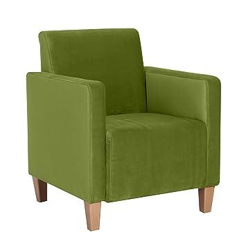Max  Winzer 2792-1100-2044229 Sessel Malu, samtiger Veloursstoff, 70 x 80 cm, oliv