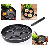 Professional Aluminum Non-Stick 4-Cup 9.5 inch Egg Pan - for Gas and Electric Stovetops - Egg Frying Pan (Tamaño: 9.5 inches)