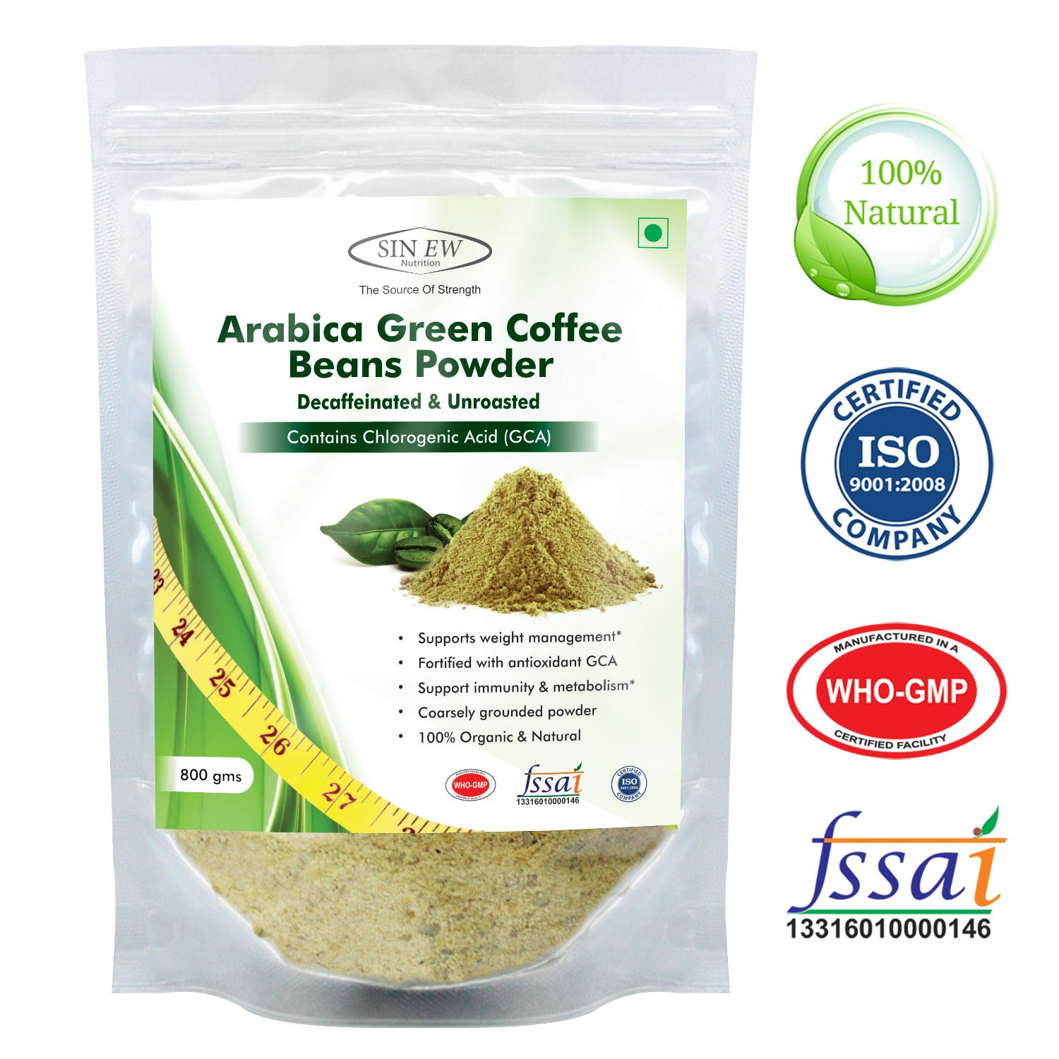 50% off or More On Vitamins & Supplements By Amazon | Sinew Nutrition Arabica Green Coffee Beans Powder 800gm, Decaffeinated & Unroasted Arabica Coffee for Weight Management @ Rs.2,399