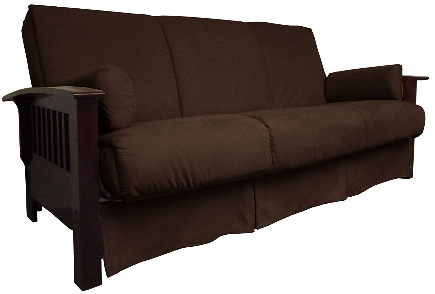 Epic Furnishings Brentwood Perfect Sit and Sleep Pillow Top Sofa Sleeper Bed - Full-size - Mahogany Frame Finish - Leather
