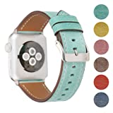 Pantheon Leather Apple Watch Replacement Band for Women by, Strap is 38mm or 42mm, fits Apple iWatch 3, 2, 1 and Nike Edition (Teal, 38mm) (Color: Teal, Tamaño: 38mm)