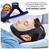 Premium Anti Snore Chin Strap by ZARU (2018 New Version) - Advanced Snoring Solution Scientifically Designed to Stop Snoring Naturally and Give You The Best Sleep of Your Life! (.Blue)