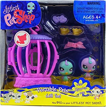 Littlest Petshop - Portable Pets - Gift-Set Box - 2Pack - Canarie Tourqoise #1930 et Canarie Violet #931 - avec beaucoup d'accesoire