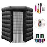 Happybuy 1 Doors Inflatable Photo Booth 8.2X 8.2ft Octagonal Shape Photo Booth Enclosure Portable LED Lights Photo Booth W/Fan Great for Parties Weddings Anniversary Birthdays Company Parties Special (Color: Black, Tamaño: 1 Door)
