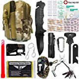 EVERLIT Upgraded Emergency Survival First Aid 80-In-1 Tactical Outdoor Molle Bag Tool Kit Customized by U.S Military Members, For Camping Hunting Earthquake Travel