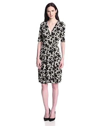 Donna Morgan Women's Elbow Sleeve Faux Wrap Dress, Pearl/Black, 2