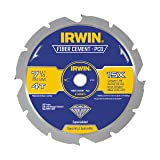 IRWIN Tools Polycrystalline Diamond-Tipped Fiber Cement Circular Saw Blade, 7 1/4-inch, 4-Tooth (4935473) (Color: Blue, Tamaño: 7-1/4