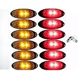 Paquete de 12 luces LED AutoSmart KL-15114C con forma ovalada, bisel cromado, lente claro, funcionan como luz de marcador lateral para camión, trailer, remolque. 6 ámbar y 6 rojas.
