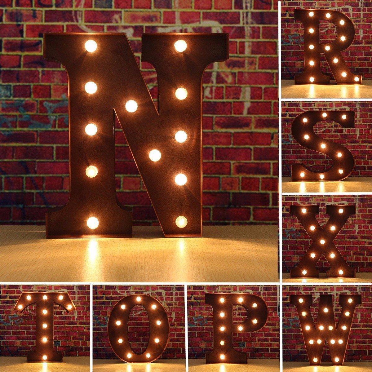 SOLMORE 23CM x 5.5CM LED Letter Light DIY Vintage Metal Sign Carnival Wall Marquee Lights Decoration G 6