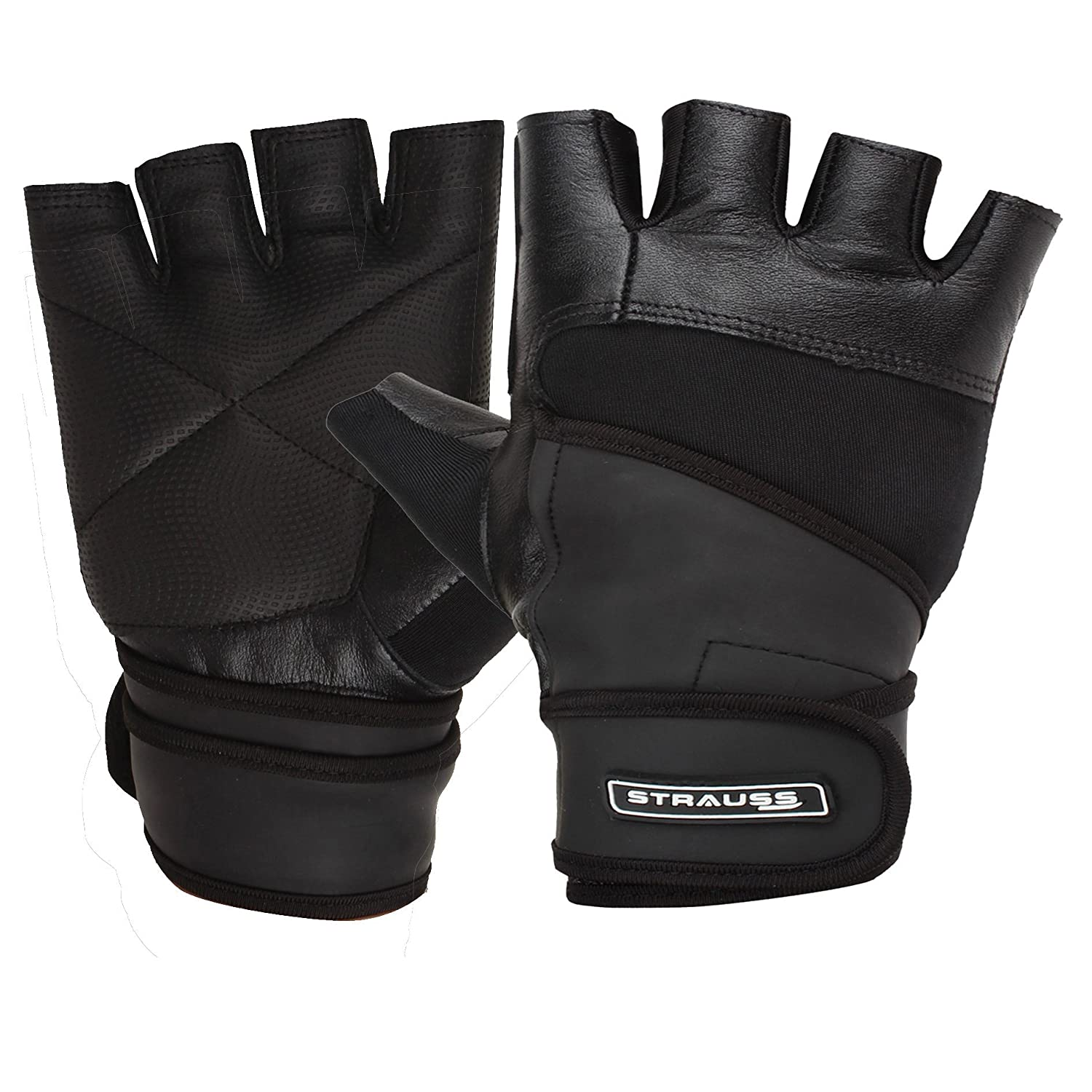 Buy leather hand gloves online india - Strauss Leather Gym Gloves With Wrist Wrap Medium
