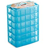 LifeSmart USA Stackable Storage Container Blue 60 Adjustable Compartments Compatible with Lego Dimensions Shopkins Littlest Pet Shop Arts and Crafts and More (Standard 6 Tier) (Tamaño: Standard 6 Tier)