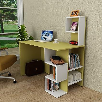 deroni escritorio-color blanco/Avola-Mesa para ordenador con estantería en un diseño moderno.