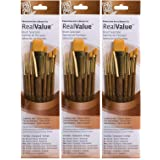 Princeton Art & Brush P9143 Real Value Brush Set, Synthetic Gold Taklon, Round 2 and 4, Liner 2/0, Shader 2 and 6 (?hree P?ck, Gold) (Color: Gold, Tamaño: ?hree P?ck)