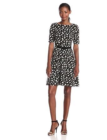 Anne Klein Women's Elbow Sleeve Dot Printed Swing Dress, Black/Cream, 4