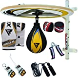 RDX 12 PC Boxing Speed Ball Heavy Platform MMA Cow Hide Leather Punching Bag Stand Workout Training (Color: Yellow/Black)