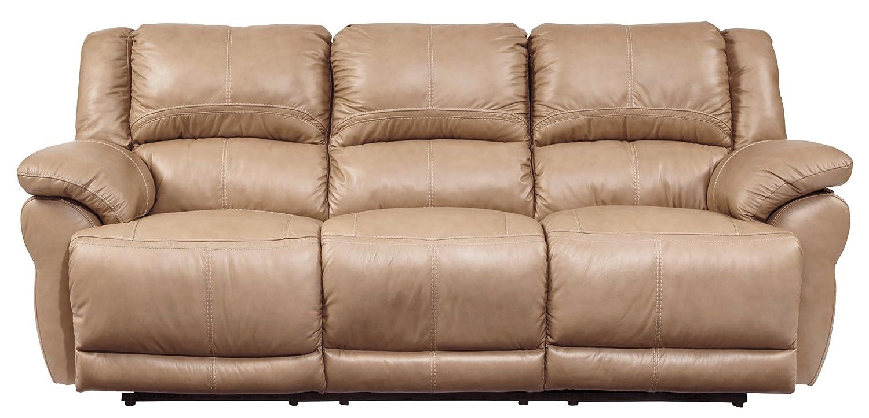 Ashley Lenoris Leather Reclining Sofa in Caramel