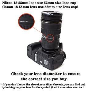 IMZ Lens Cap Bundle - 4 x 55MM Front Lens Filter Snap On Pinch Cap Protector Cover for DSLR SLR Camera Lens 55x4 (Tamaño: 55 mm)