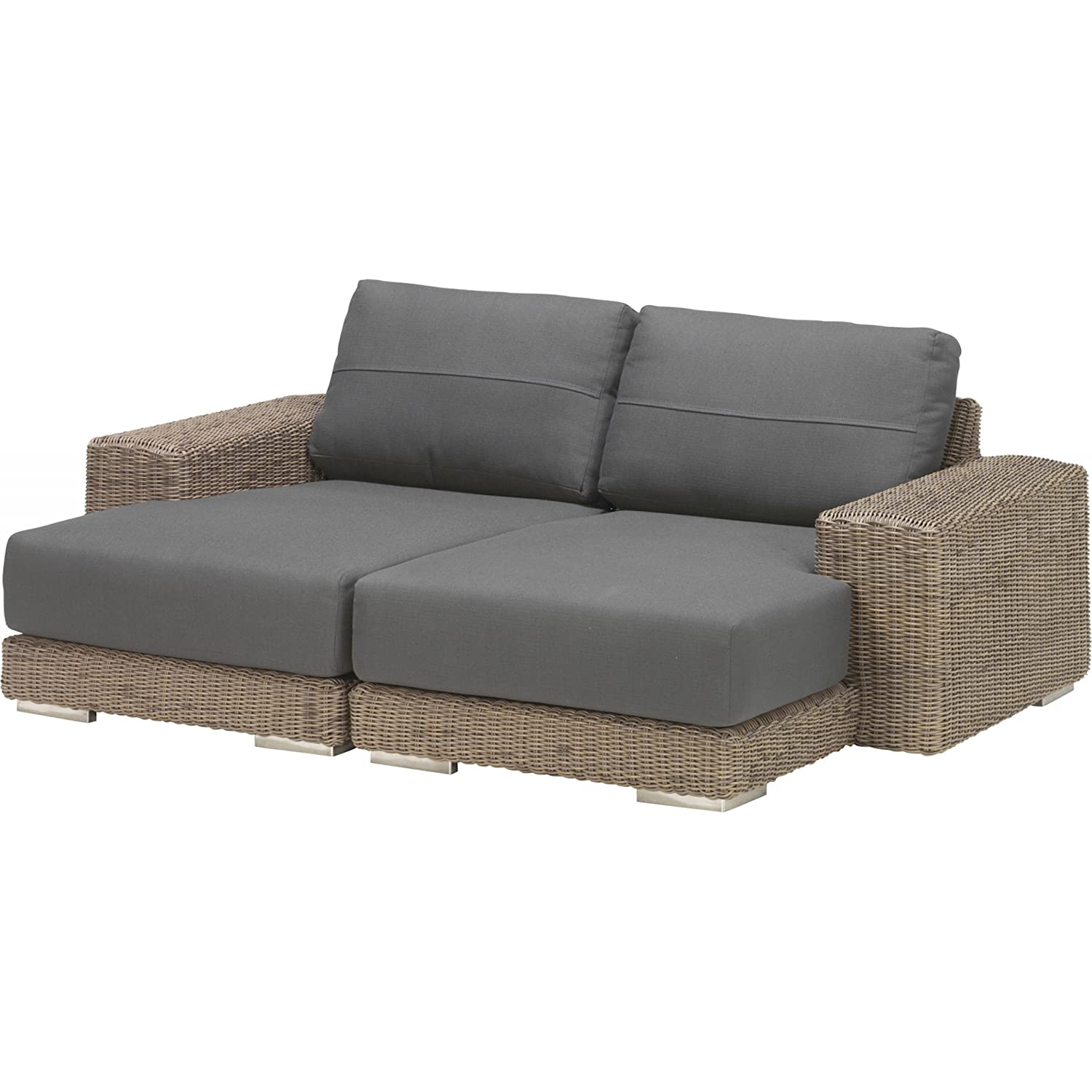 4Seasons Outdoor Kingston 2-teiliges Loungesofa Polyrattan pure inkl Kissen