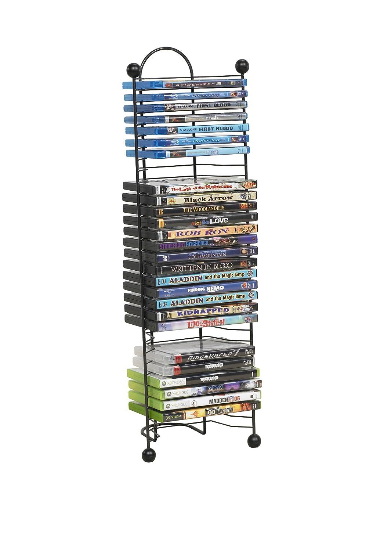 32 dvd cd tower rack games tier organizer space saving storage shelf multimedia - Cd storage rack tower ...