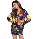 Floerns Women's Notch Collar Shorts Loose Sleepwear Two Piece Pajama Set Multi M